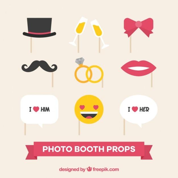 Funny wedding accessories Free Vector