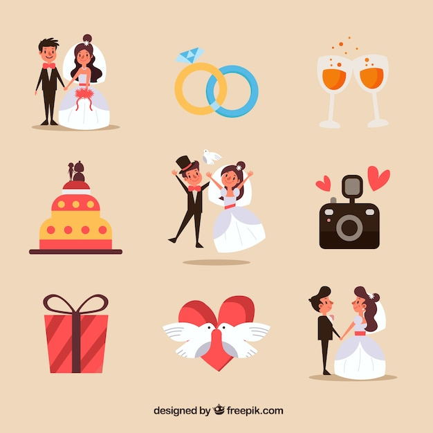 Funny wedding elements collection Free Vector