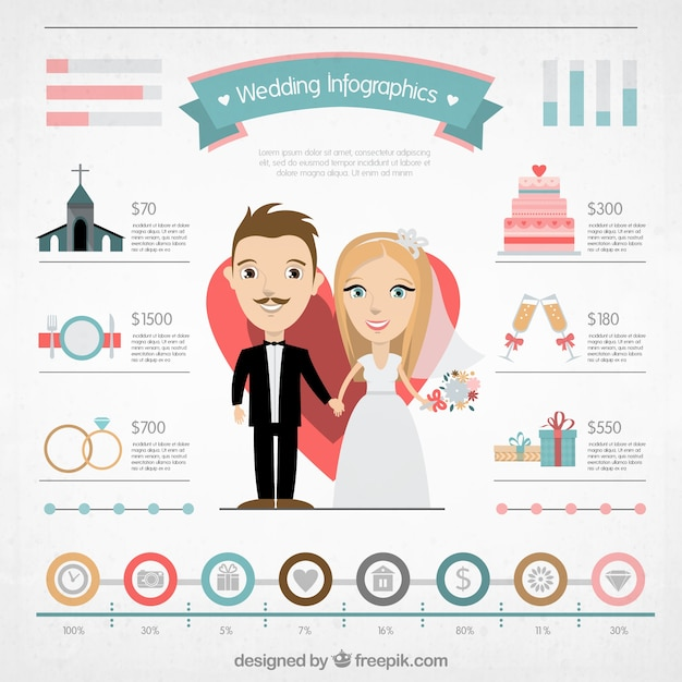 Funny wedding infography Free Vector