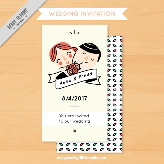 Funny wedding invitation with couple Vector Premium Download