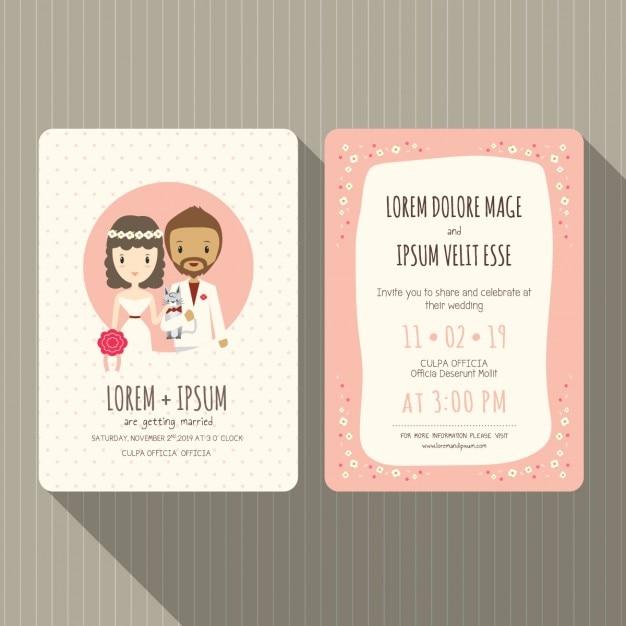 Funny wedding invitation Vector Free Download