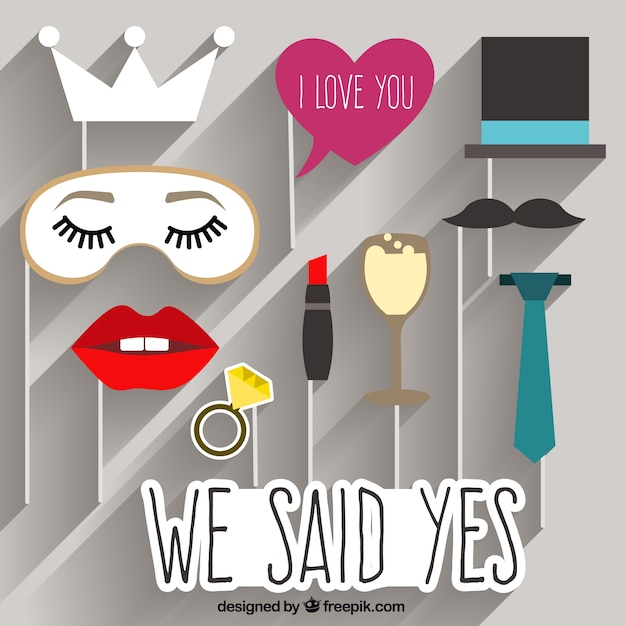 Funny wedding photo booth elements Free Vector