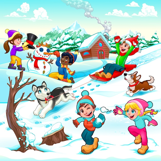 Funny winter scene with children and dogs cartoon vector illustration Free Vector