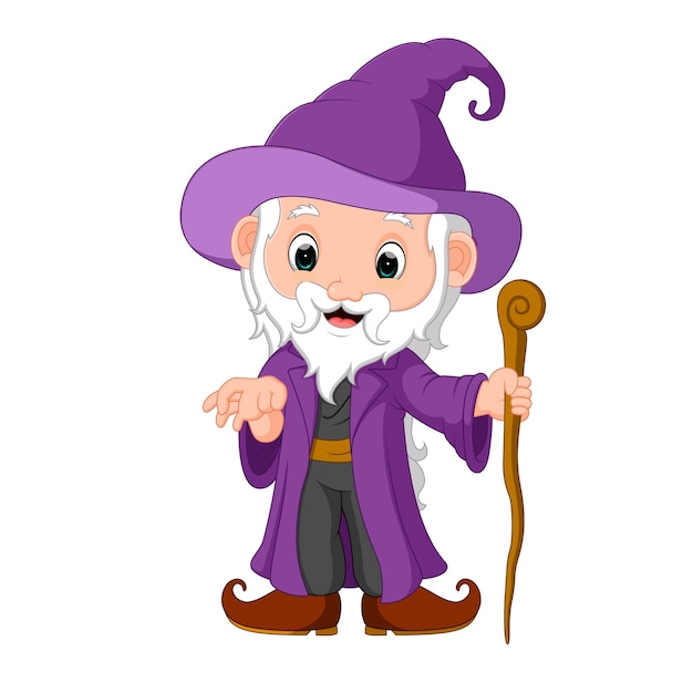 Funny witch cartoon Premium Vector