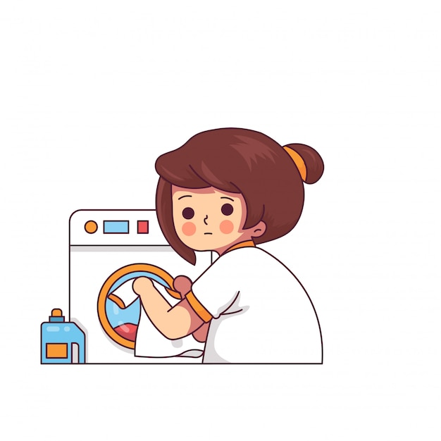 Funny woman in laundry with washing machine Premium Vector