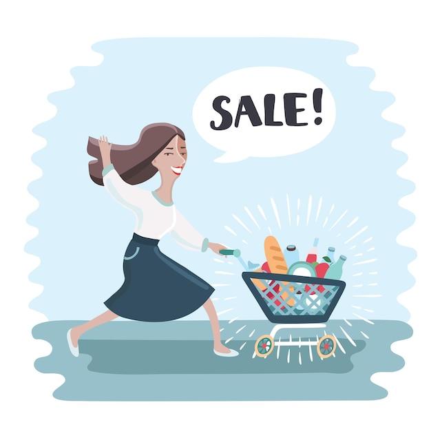 재미있는 여자 실행 및 푸시 쇼핑 트롤리 가득 쇼핑. 프리미엄 벡터