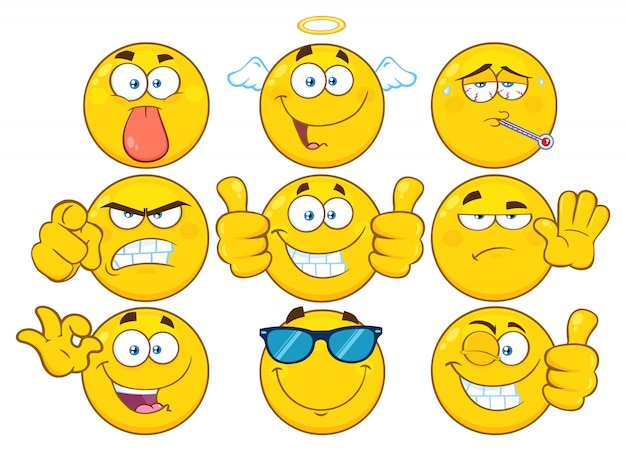 Funny yellow cartoon emoji face series character set Premium Vector