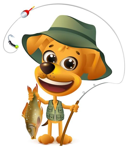 Рыбак смешной желтой собаки держит крупную рыбу. удачной рыбалки на большой улов. изолированные на белом иллюстрации шаржа Premium векторы