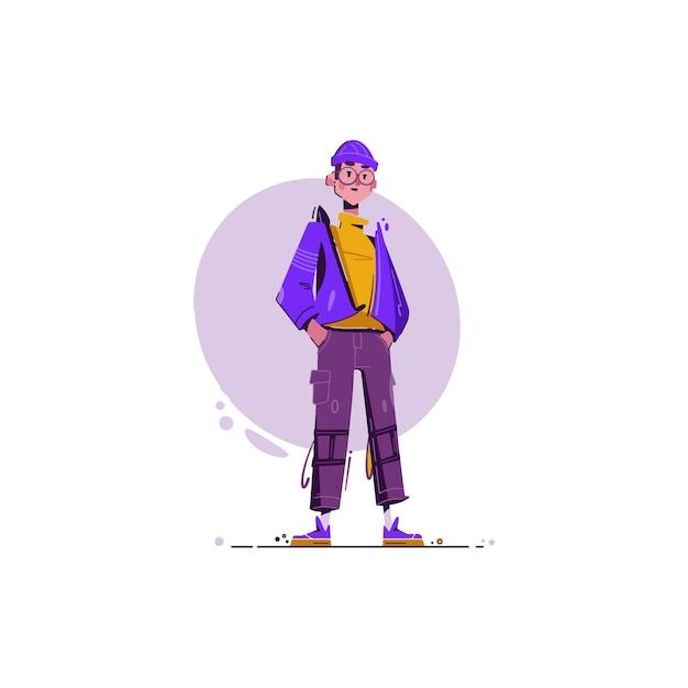 Забавная иллюстрация мальчика молодежи Premium векторы