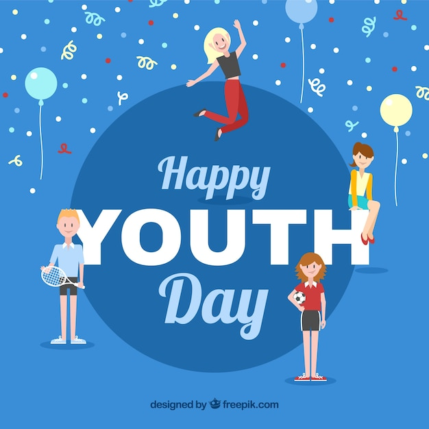 Funny Youth Day Celebration Background Vector