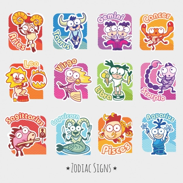 Funny zodiac signs Free Vector