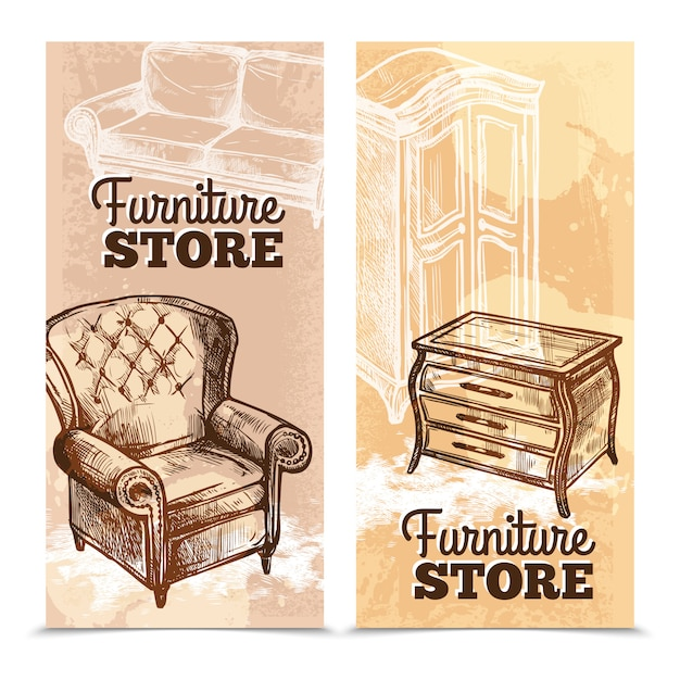 Furniture banners vertical Vector | Free Download