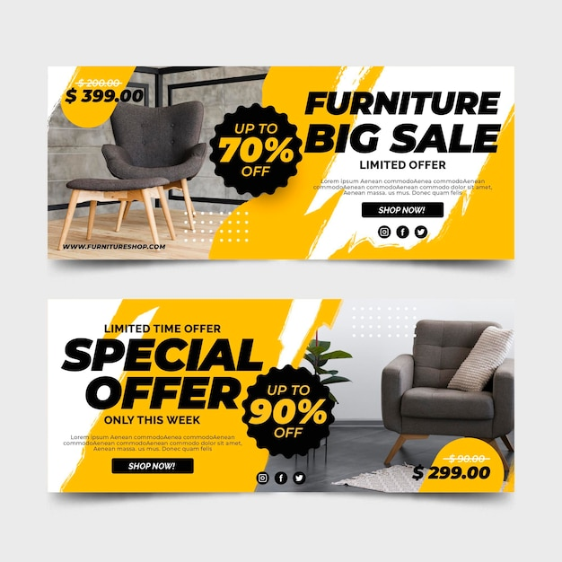 Furniture big sale banners Premium Vector