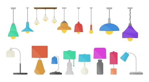 Мебельная люстра, напольная и настольная лампа в плоском мультяшном стиле. люстры, осветитель, фонарик, изолированные на белом фоне. домашний свет с лампами иконы. Premium векторы