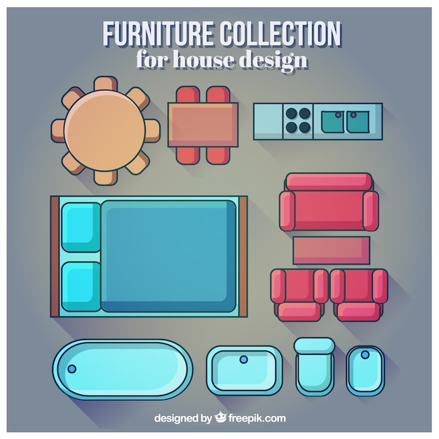 Furniture collection for house design vector free download Home design collection