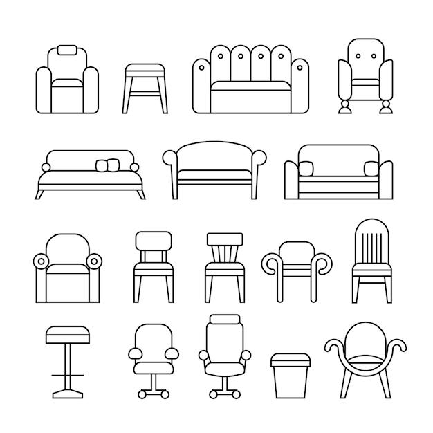 Furniture collection Premium Vector