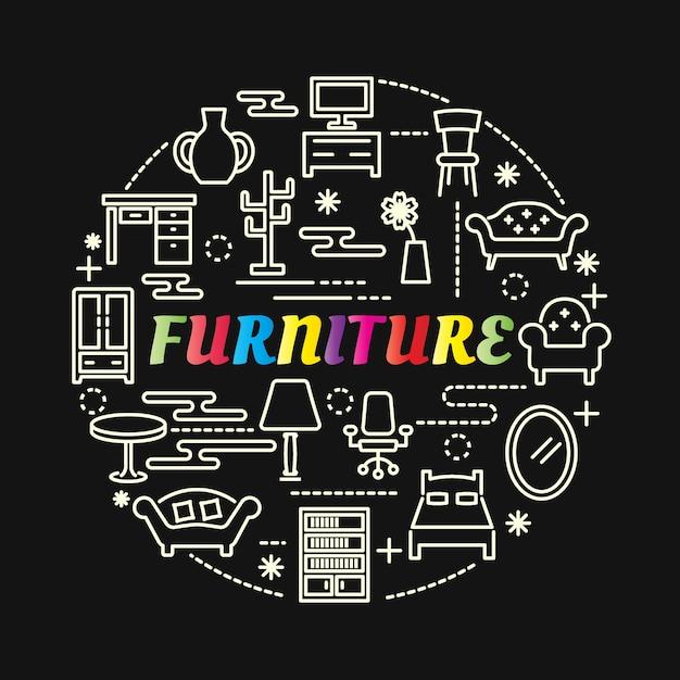 Цветной градиент мебели с линейными значками Premium векторы