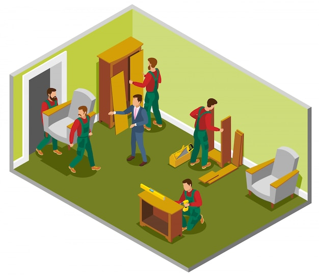 Furniture delivery isometric composition Free Vector