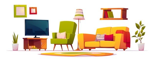 Мебель для интерьера гостиной Бесплатные векторы