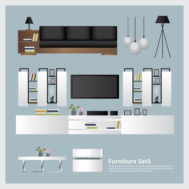 Furniture and home decoration set vector illustration Premium Vector