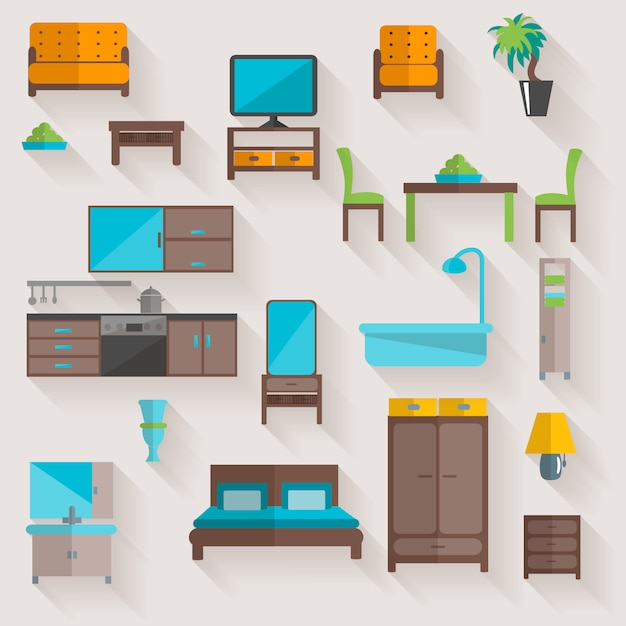 Furniture home flat icons set Free Vector