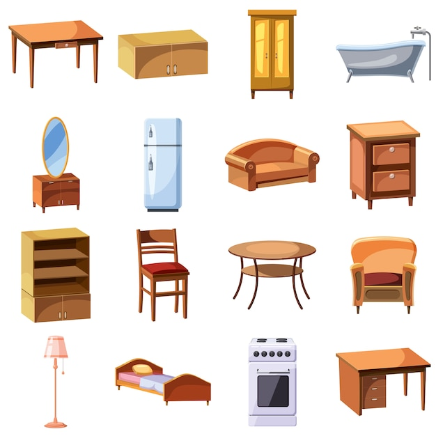 Furniture and household appliances icons set Premium Vector