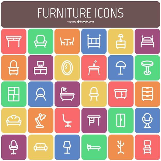 Furniture icon collection Free Vector