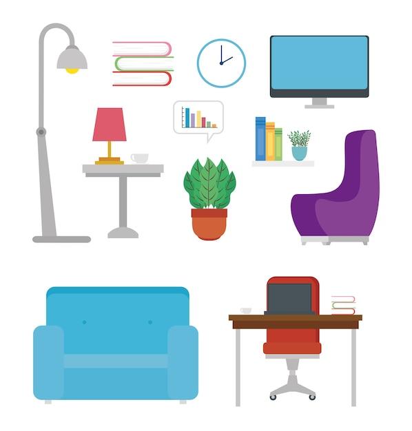 家具アイコンと家からの装飾。 Premiumベクター