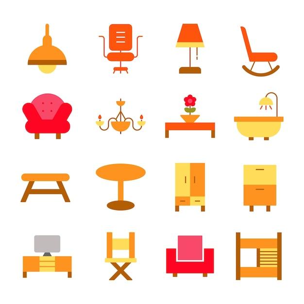 Furniture Icons Set Interior Design Logo Illustration Vector Rh Freepik Com Free Elements