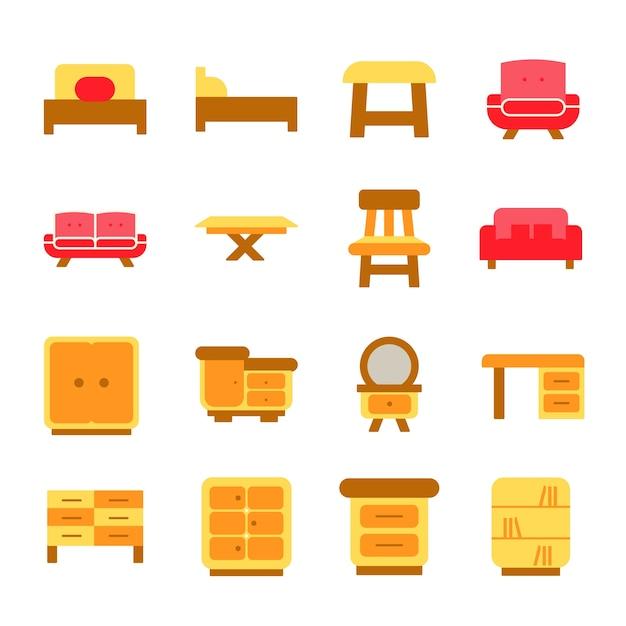 Furniture Icons Set Interior Design Vecor Logo Illustration Premium Vector