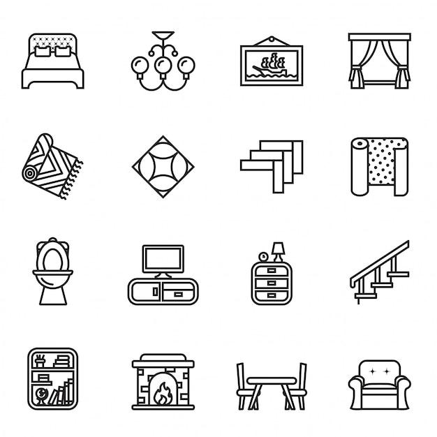 Furniture icons set Premium Vector