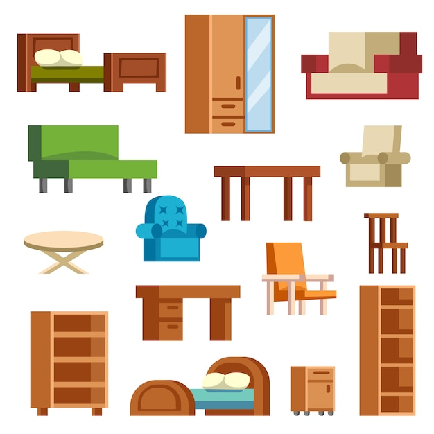 Furniture icons vector isolated Premium Vector
