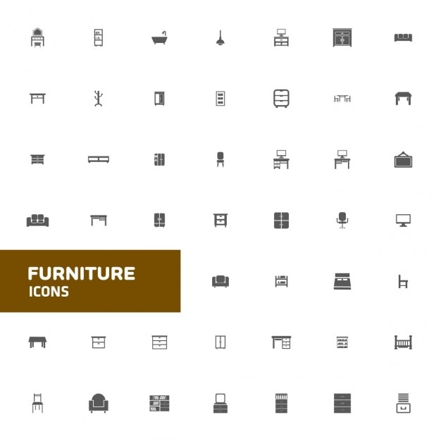 Furniture icons Free Vector