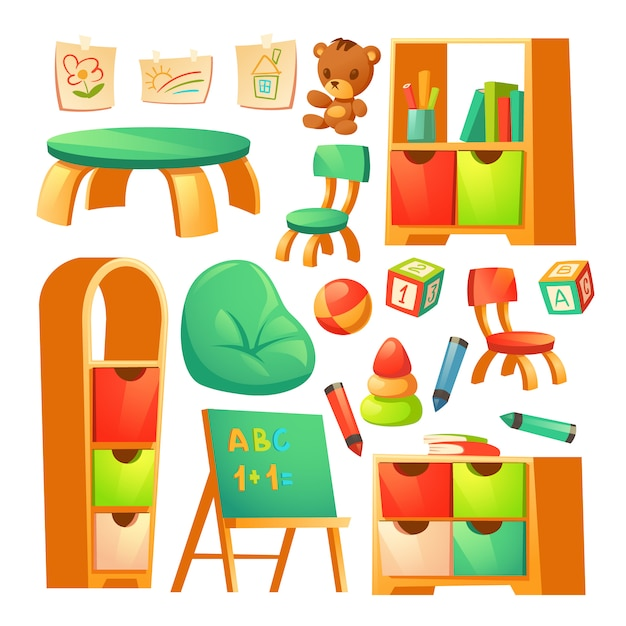 Мебель в монтессори детском саду Бесплатные векторы