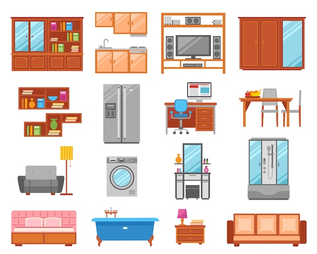 Furniture isolated icon set Free Vector