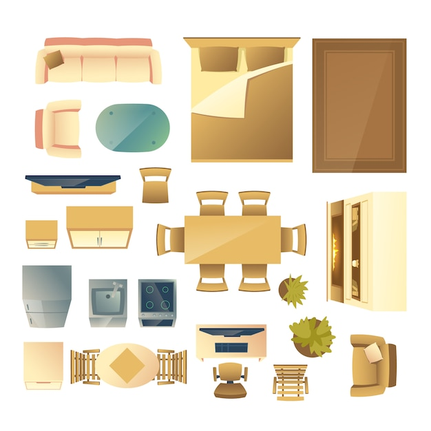 Furniture and kitchen appliances top view cartoon Free Vector