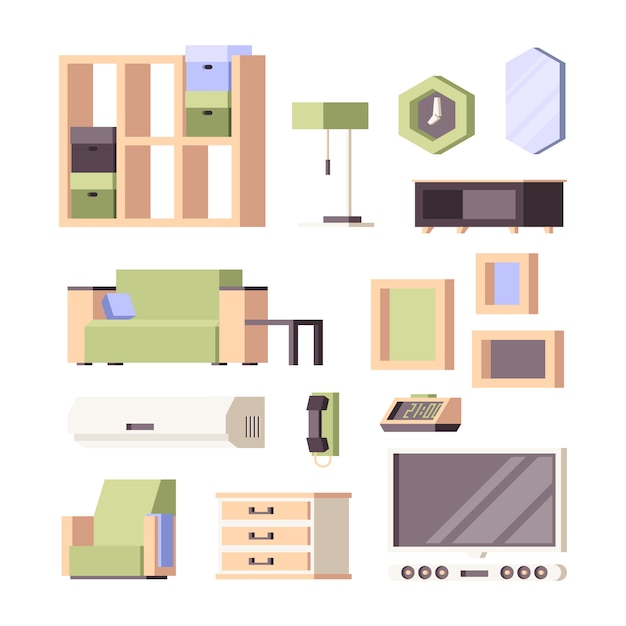 Furniture . living room interior items houseplants chairs tables wardrobe bed chairs  orthogonal collection Premium Vector