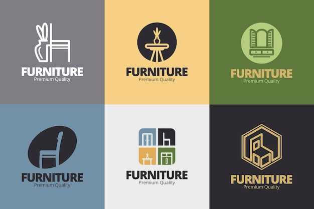 Коллекция мебели с логотипом Бесплатные векторы