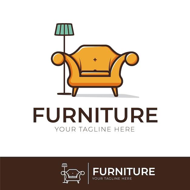 家具ロゴデザインコンセプト 無料ベクター