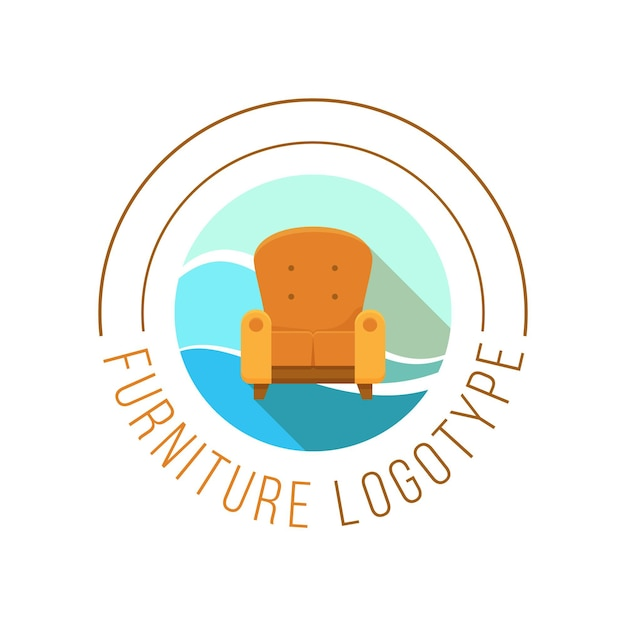 Furniture logo with armchair Free Vector