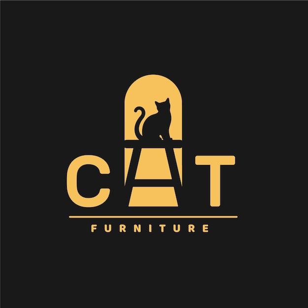 Мебель логотип с котом Premium векторы