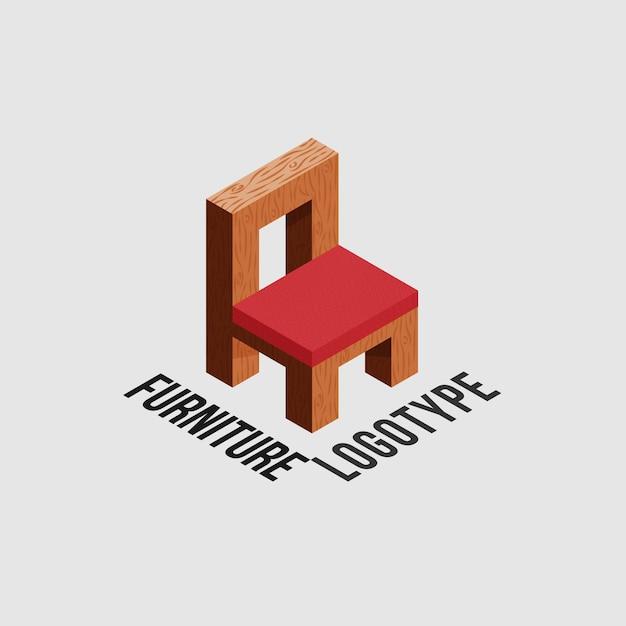 Мебельный логотип с деревянным стулом Premium векторы