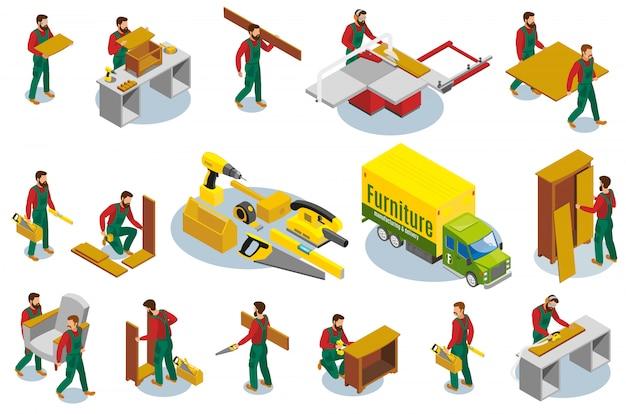 Мебель makers изометрические элементы Бесплатные векторы