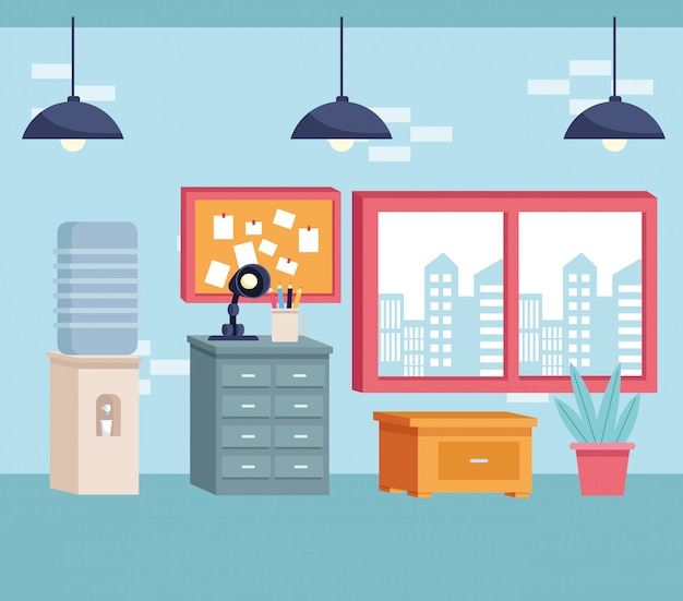 Furniture modern decoration style cartoon Premium Vector