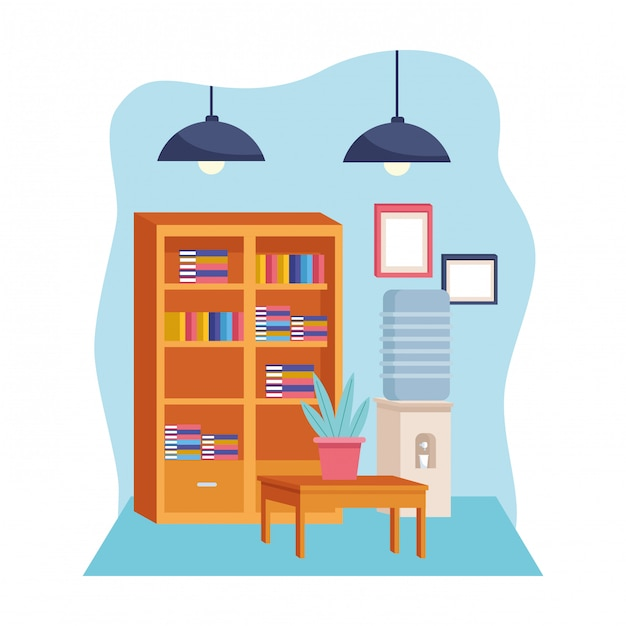 Furniture modern decoration style cartoon Premium Vector