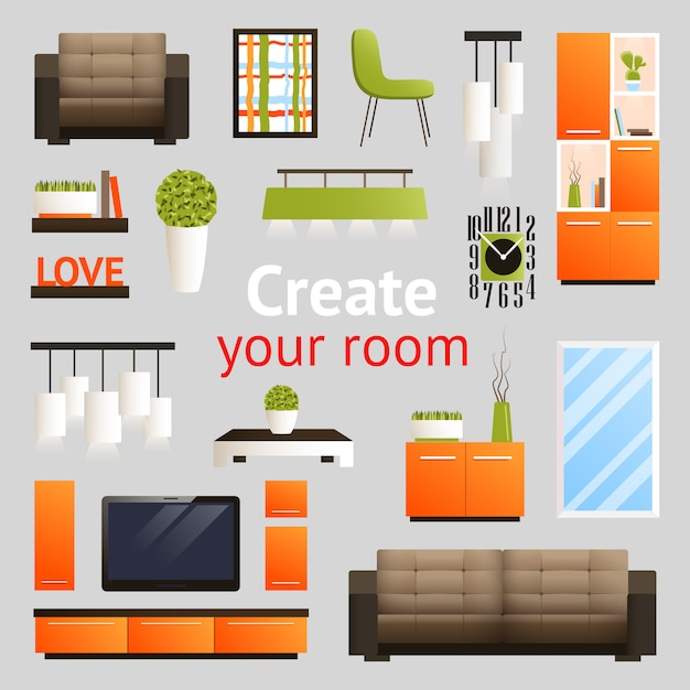 Furniture objects set Free Vector