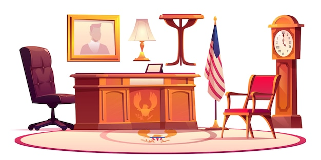 Furniture of oval office in white house Free Vector