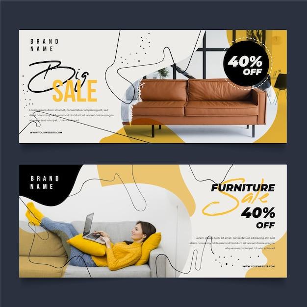 画像付き家具販売バナーコレクションテンプレート Premiumベクター
