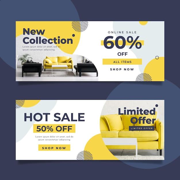 Шаблон коллекции баннеров для продажи мебели с фото Premium векторы