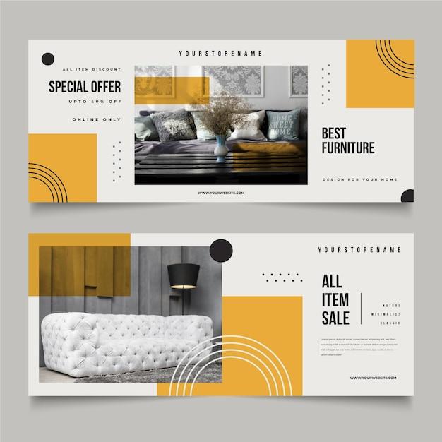 Collezione di banner di vendita di mobili con modello di foto Vettore gratuito